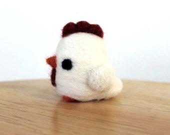 Needle Felted Chicken Hen Figurine - Made to Order - Cute Felt White Chicken Miniature Art - Felted Bird - Farm Animal Figure