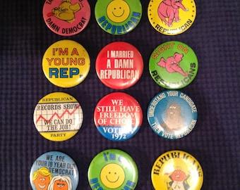 1970's Political Pinback Buttons Democrat Republican Vote