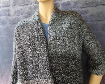 Crochet Cardigan, Chunky Cardigan, Gray Cardigan, Sweater Coats, Crochet Jacket Cardigan, Midnight Stripes, Available in S/M, L/Xl and 1X/2X