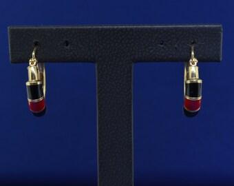 14k Black And Red Enamel Hoop Earrings