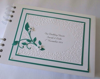 Wedding / Engagement Guest Book,Personalised ,A5,Embossing,Flowers And Leaves ,Boxed,Colour Choice