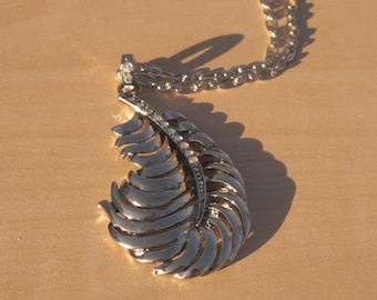 Silver Feather Necklace - With Rhinestones