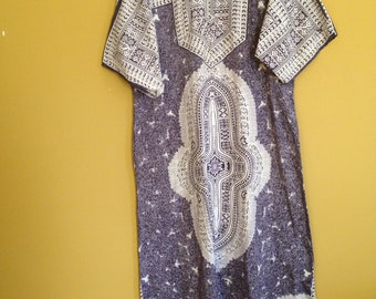 Grey and black Kaftan (caftan) dress with beautiful traditional African pattern