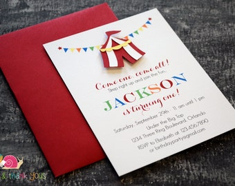 Circus Tent Invitations · A2 FLAT · Under the Big Top | First Birthday Party | Carnival Baby Shower Invitation | Carnival Party Invites