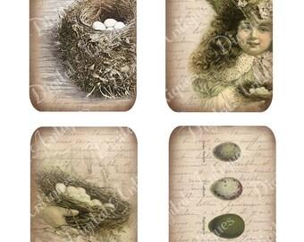 Jahrgang Nest und Ei Tags Ostern druckfähigen Digital Download