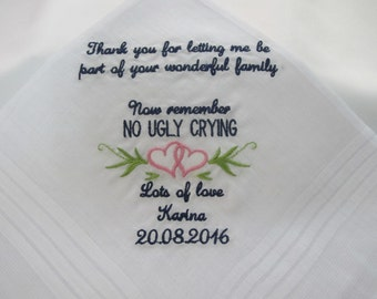 Embroidered Wedding Handkerchief for the Mother of the Groom