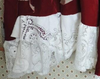 Rouge velours Shabby Gypsy jupe Bohème Edwardian dentelle Antique victorienne