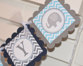 Welcome baby banner, elephant baby shower banner welcome baby boy welcome baby girl elephant welcome banner, baby elephant banner, navy blue