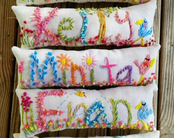 Personalized Gift Freehand Embroidered Bohemian Name Pillow Made To Order Up to Five Letters YelliKelli