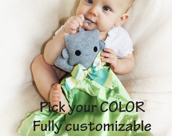 Gray Robot Security Blanket, Lovey Blanket, Satin, Baby Blanket, Stuffed Animal, Baby Toy - Customize Color - Add Monogramming