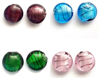 10 Silver Foiled Glass 20mm Disc Flat Round Beads