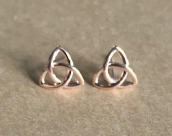Rose Gold Celtic Knot Stud Earrings, Celtic Knot Earrings, Triangle Earrings