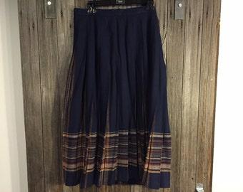 Blue, brown pleated Vintage Wool skirt