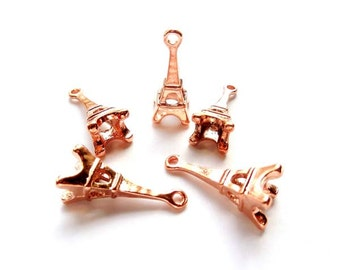 5 Rose Gold Plated Eiffel Tower Charms - 20-13