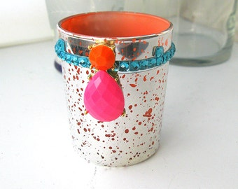 4 Jeweled Mercury Glass Votive Candle Holders bling pink coral turquoise Glass votive Holders Wedding reception Decor 2.5 in Silver wedding