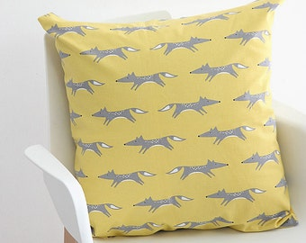 Decorative Pillow cover, Yellow Fox Pillow Case