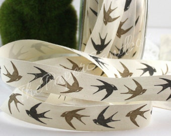 "Bird Patterned Ribbon, 3/4"" wide Cotton Ribbon by the yard, Gift Wrapping, Sewing, Cotton Trim, Party Supplies, Crafts, Gift Ribbon, Wedding"