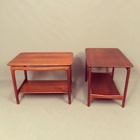 Stunning Mid-Century pair of Teak End Tables by John Stuart.