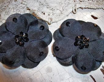 2 inch Black Hand Sewn Sequin Flowers 2 piece set Floral Supplies