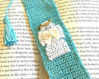 Crocheted Light Blue Bookmark with Crocheted Angel