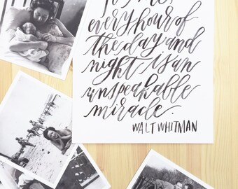 Walt Whitman Watercolor Calligraphy Quote