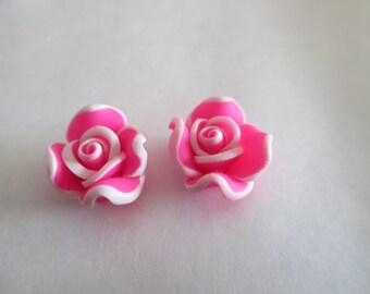 Flower Pink Fimo Fuchsia 12mm 10 beads