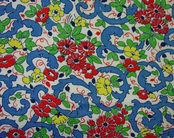 Vintage Feedsack Fabric, Bright Primary Colors, Great Design 27 x 30""