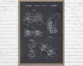 Video Game Poster, Gamer Poster, Playstation Patent Poster, Video Game Poster, Video Game Art, Playstation, Video Game Wall Art