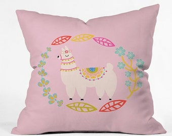 Llama Floral Leafy Pink Decorative Throw Pillow, Cute Kids Bedroom Decor, Whimsical Floral Spring Living Room Decor, Mothers Day Gift Idea