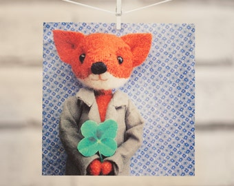 Mr Fox with his four leaf clover!  Perfect card for Good Luck and Happy St Patrick's Day, or simply saying hello...
