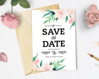 A6 Floral Save The Date Cards