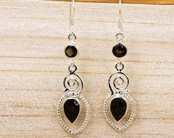 Smoky Topaz Earrings & .925 Sterling Silver Dangle Earrings AE793 Jewelry The Silver Plaza