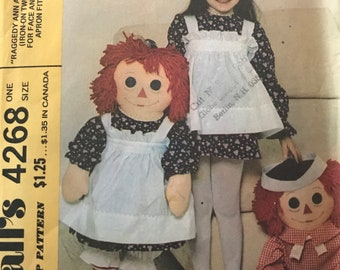 Raggedy Ann and Andy Pattern---McCalls 4268---36 Inch Dolls   UNCUT