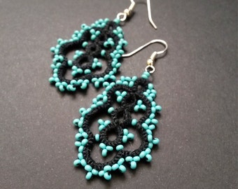 Handmade Tatted Lace Earrings Black with Turquoise Beads – Needle Tatting Lacy Earrings – Elegant Earrings – Gift for her – Under 10