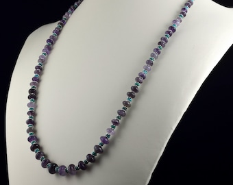 Amethyst and Turquoise Rondelle Beaded Necklace