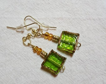 Square Green with Gold Trim Glass Bead Earrings