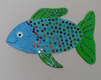 Free Shipping! Fish Decor,RAINBOW FISH, Beach Decor, Wooden Fish,