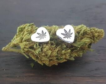 Sterling Silver Sweetheart Stud Earrings in Sterling Silver, Cannabis Jewelry handmade by The Toke Shop
