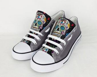 Day of the dead, custom shoes, sugar skulls, women shoes, rockabilly, gift for her, birthday gift, rock your sole, dia de los muertos, skull