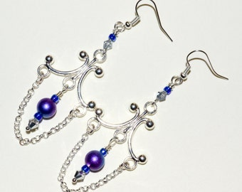 Boho Earrings, Dangle Earrings, Chandelier Earrings, Long Boho Drop Earrings, Silver Earrings, Purple Earrings, Bead Earrings, Long Earrings