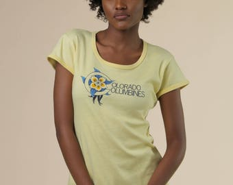 Colorado Columbines Tee // Yellow Baby Tee // Yellow Colorado Shirt