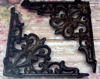 Shelf Bracket Cast Iron FDL Fleur Unpainted Brace 1 Pair DIY Home Improvement