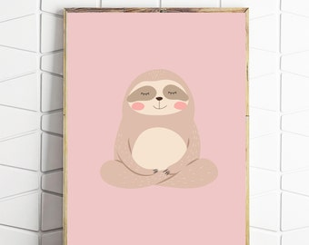 sloth printable, sloth wall art, sloth digital art, sloth download, sloth kids art, pink sloth decor