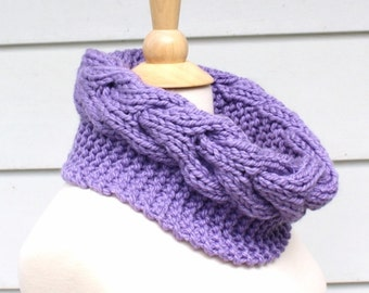Knit cable cowl pattern, knit circle scarf pattern, horseshoe cable pattern, knit neckwarmer pattern, infinity scarf pattern