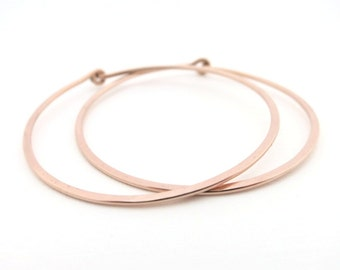 Rose Gold Hoop Earrings 1.5 inches diameter