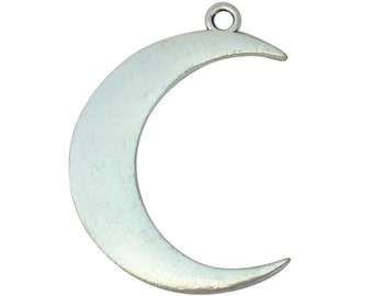 4 Silver Crescent Moon Charm Pendant 44x31mm by TIJC SP1290