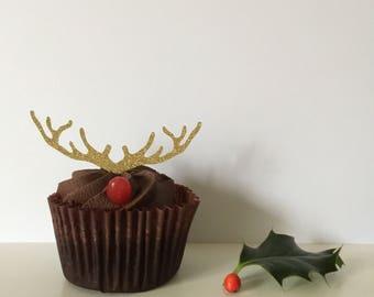Reindeer antler cupcake toppers x 12