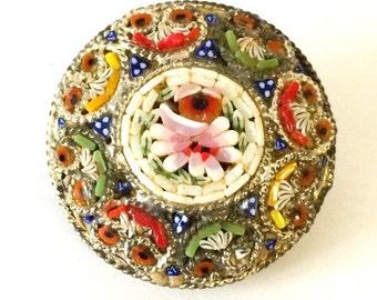 Antique Italian Micro Mosaic Brooch Pin