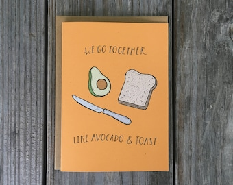 Funny Avocado Card, Funny Toast Birthday Card, Avocado and Toast Funny Card