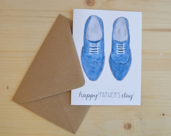 Father's Day Card - Happy Father's Day Card - Father Greeting Card - Watercolor Father's Day Card - Father's Day Shoe Card - Dad Card